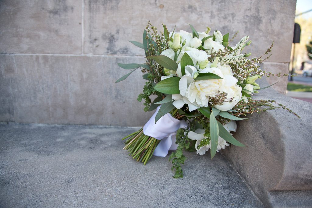 bridal bouquet in whites and greens