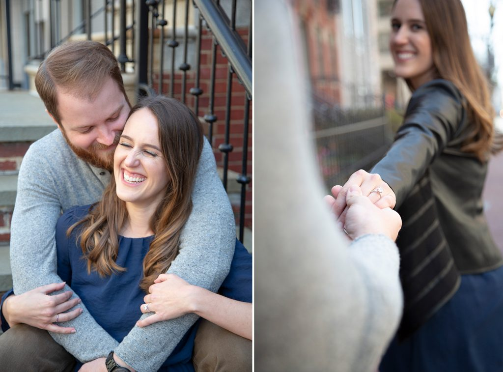 couple embracing on porch steps