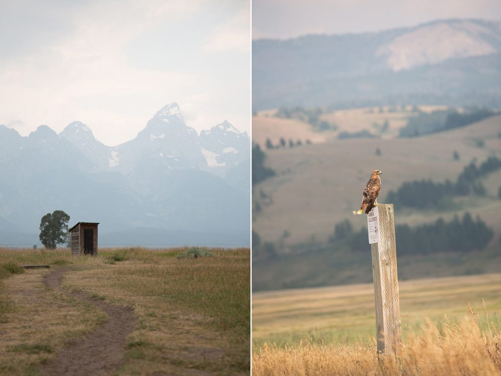 old wood outhouse with mountain views
