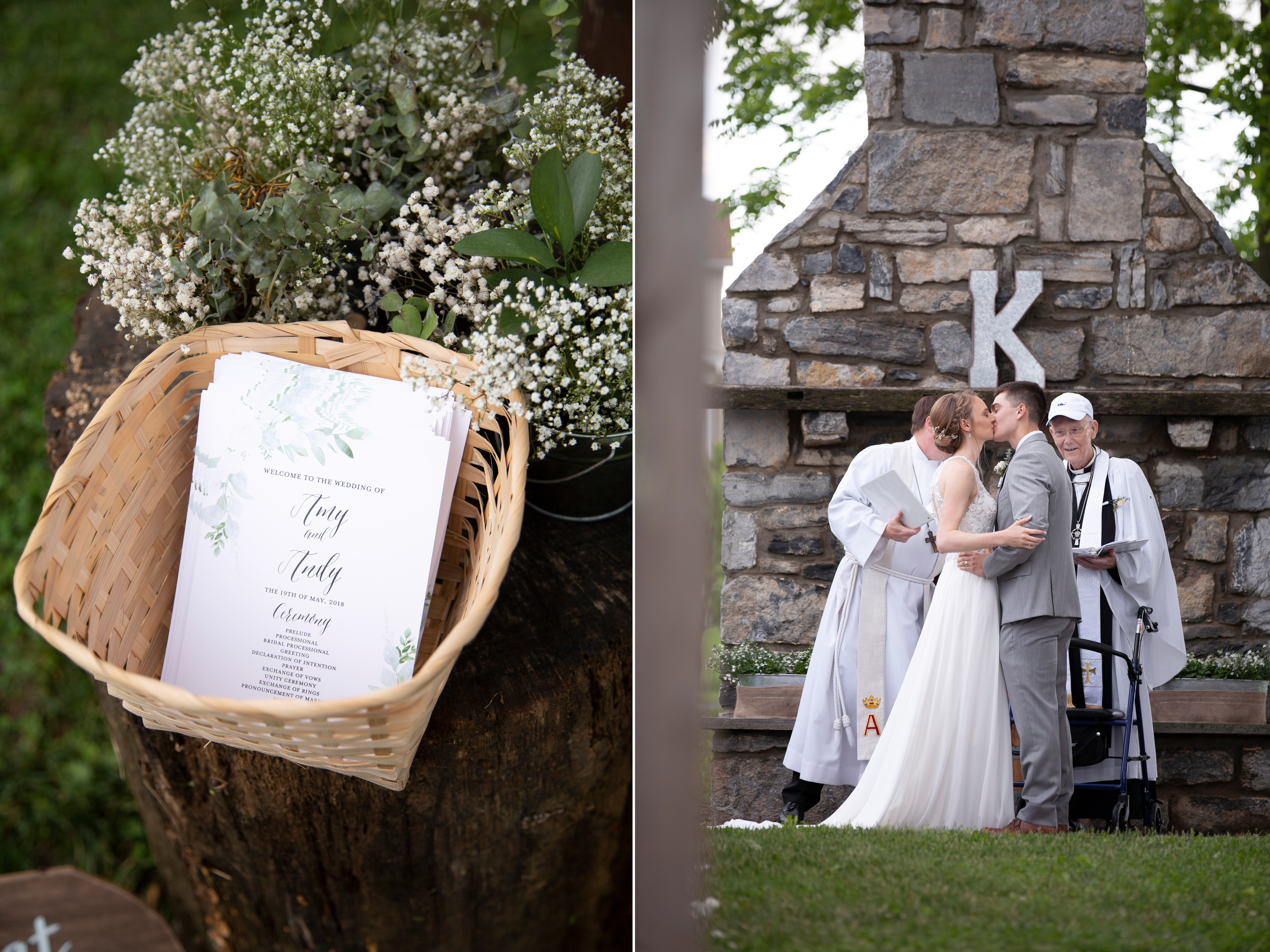 wedding programs in basket