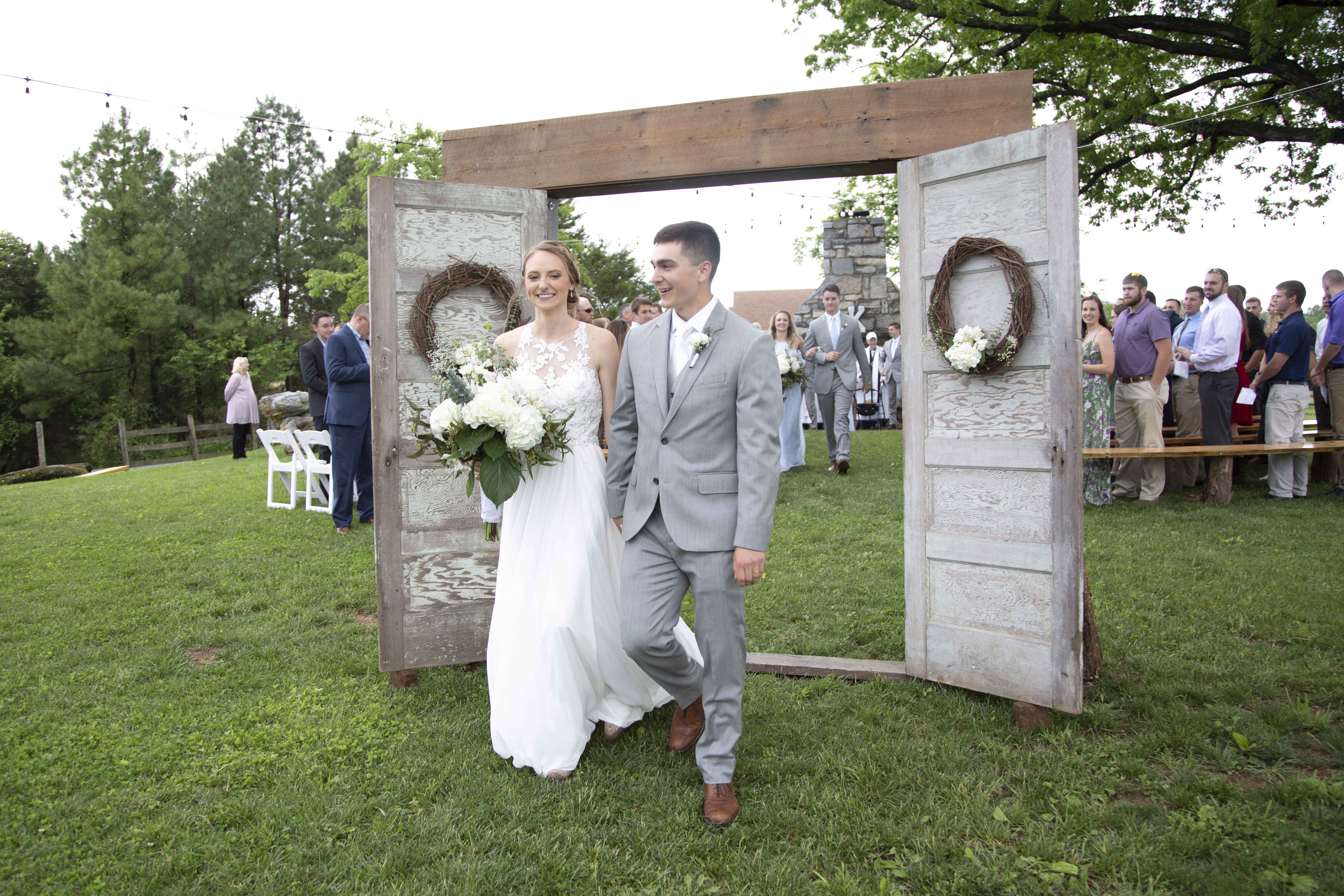 bride and groom exiting ceremony