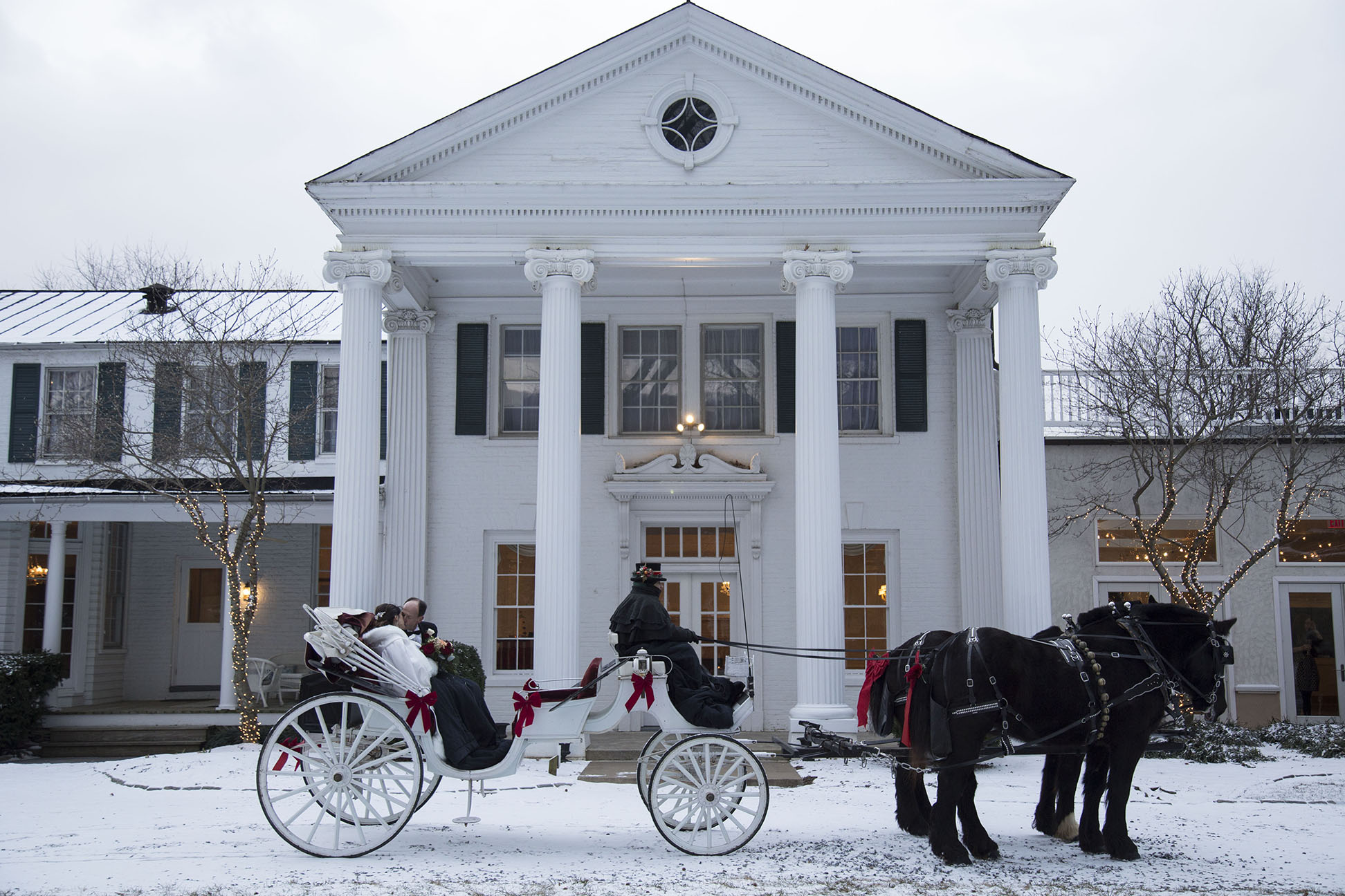 bride and groom kissing in horse and carriage in front of manor