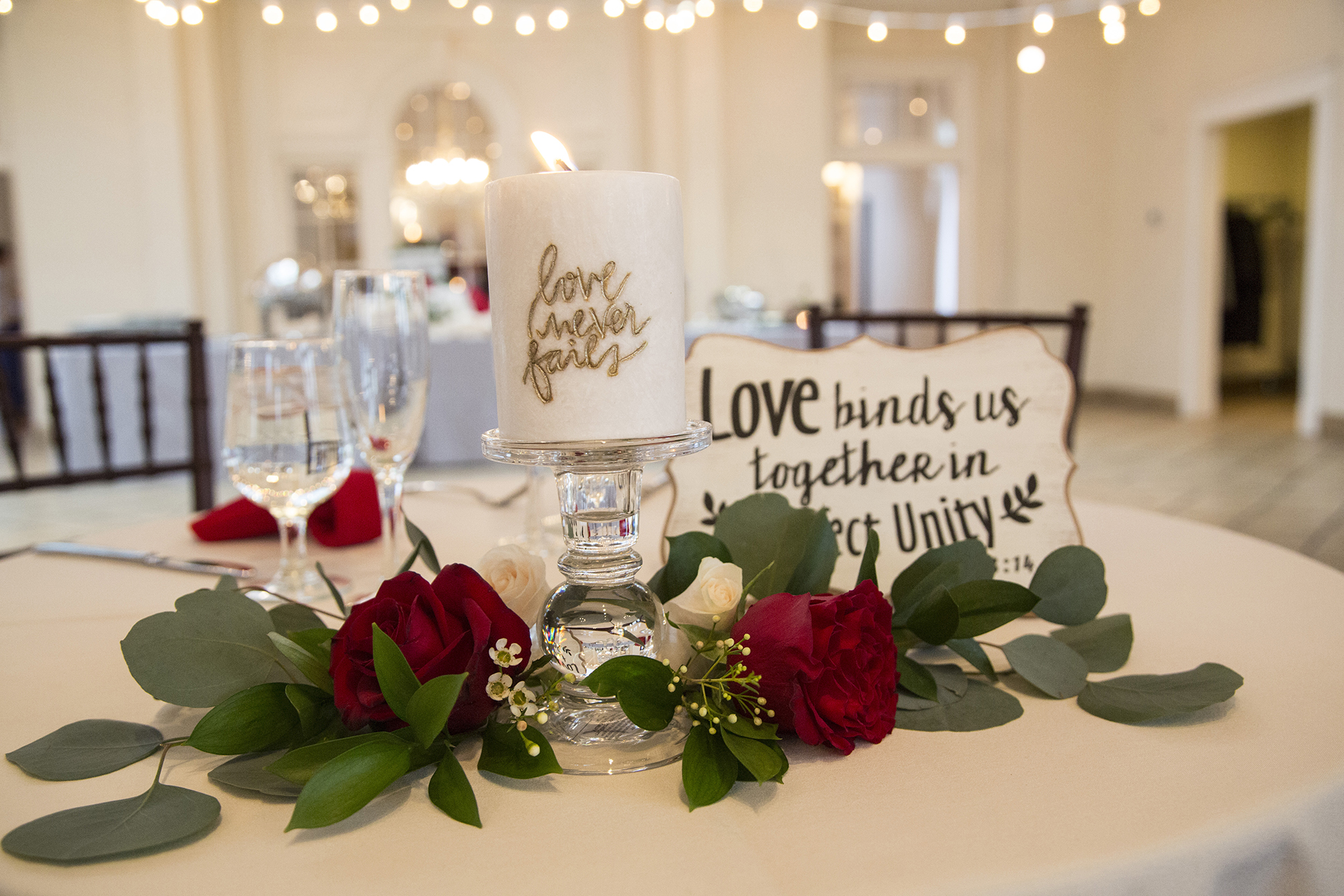 table setting with love sign