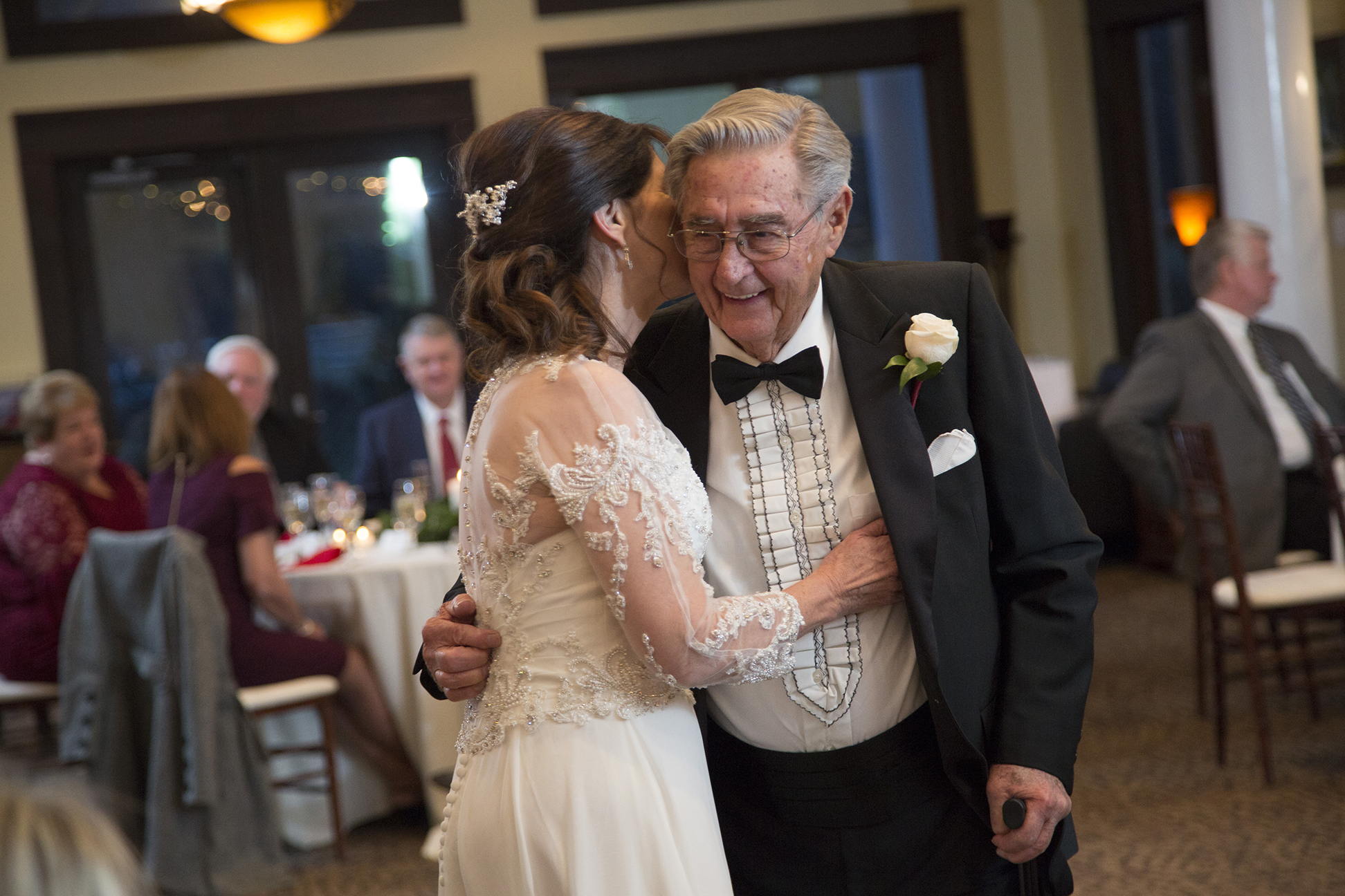 bride and father of bride dancing