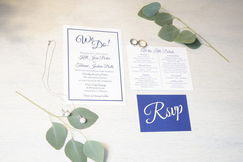 wedding invite played out on table