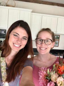 two ladies taking selfie
