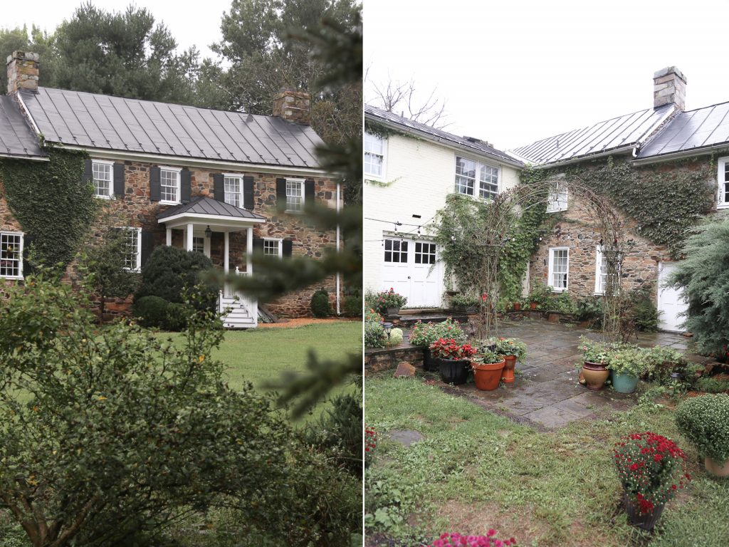 cobblestone farm house with potted plant patio