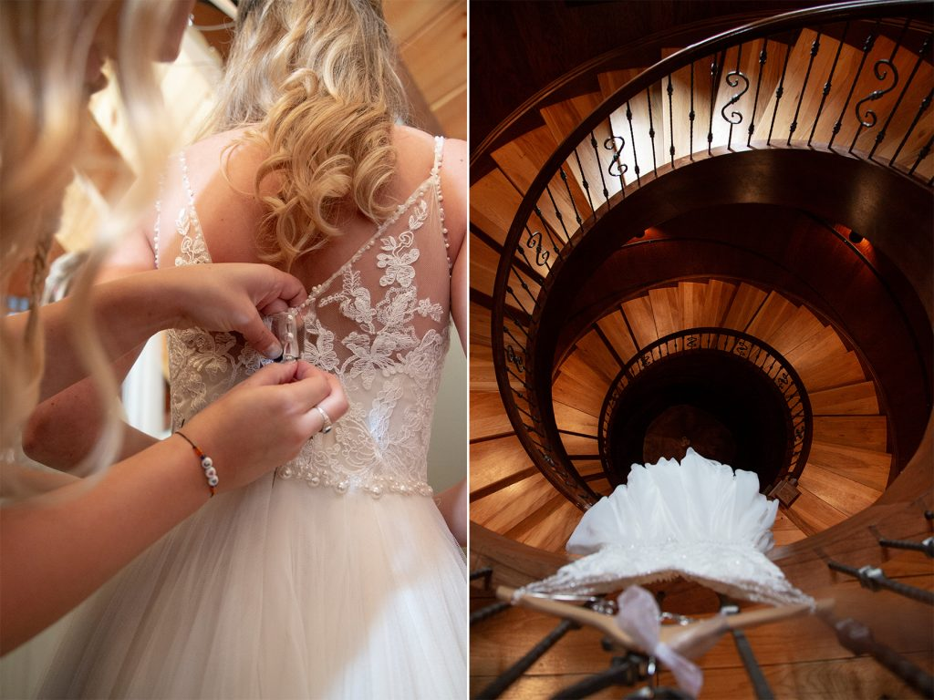 dress hung in spiral staircase