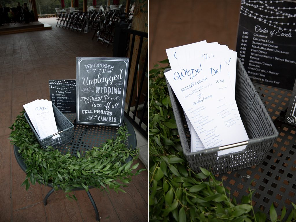 wedding ceremony programs on table