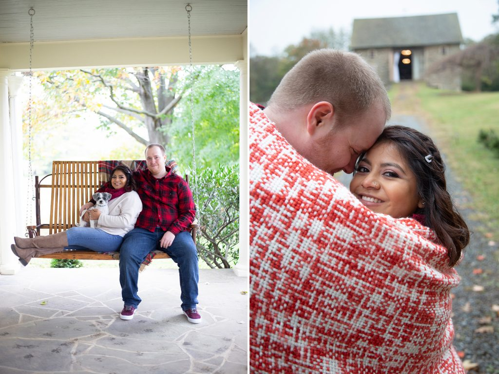 engagement couple embrace on porch swing