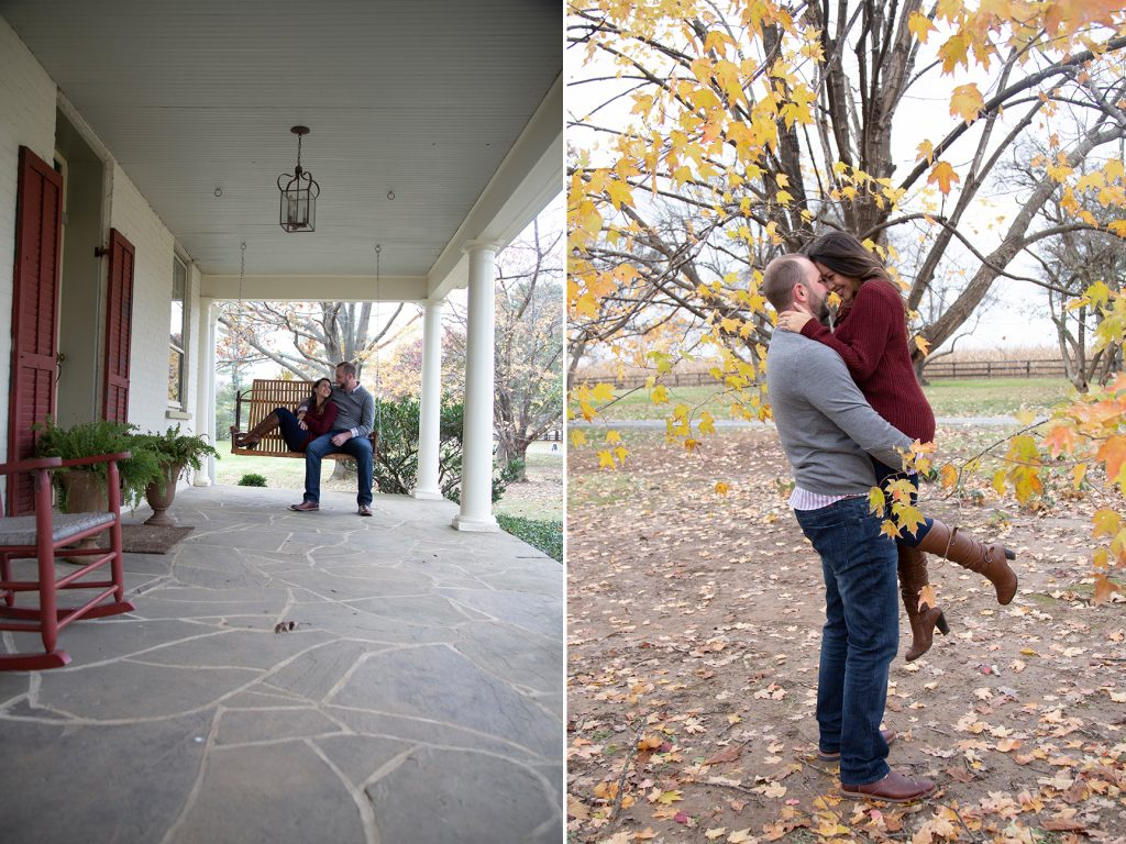 couple embracing in fall trees