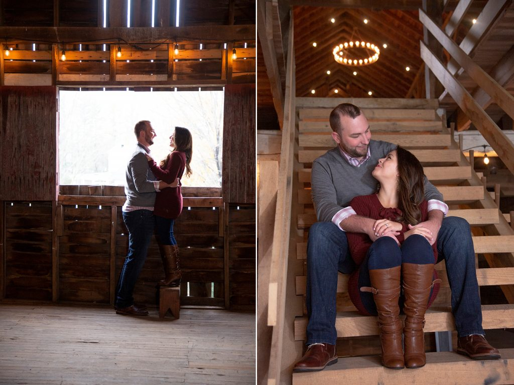 couple embracing in wooden barn