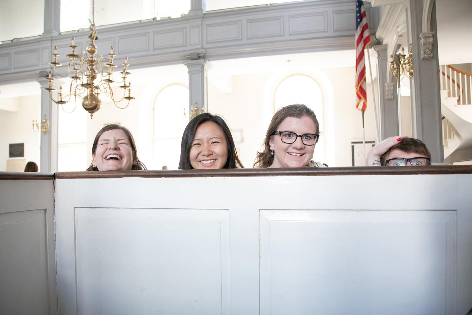 posing in North Church Boston
