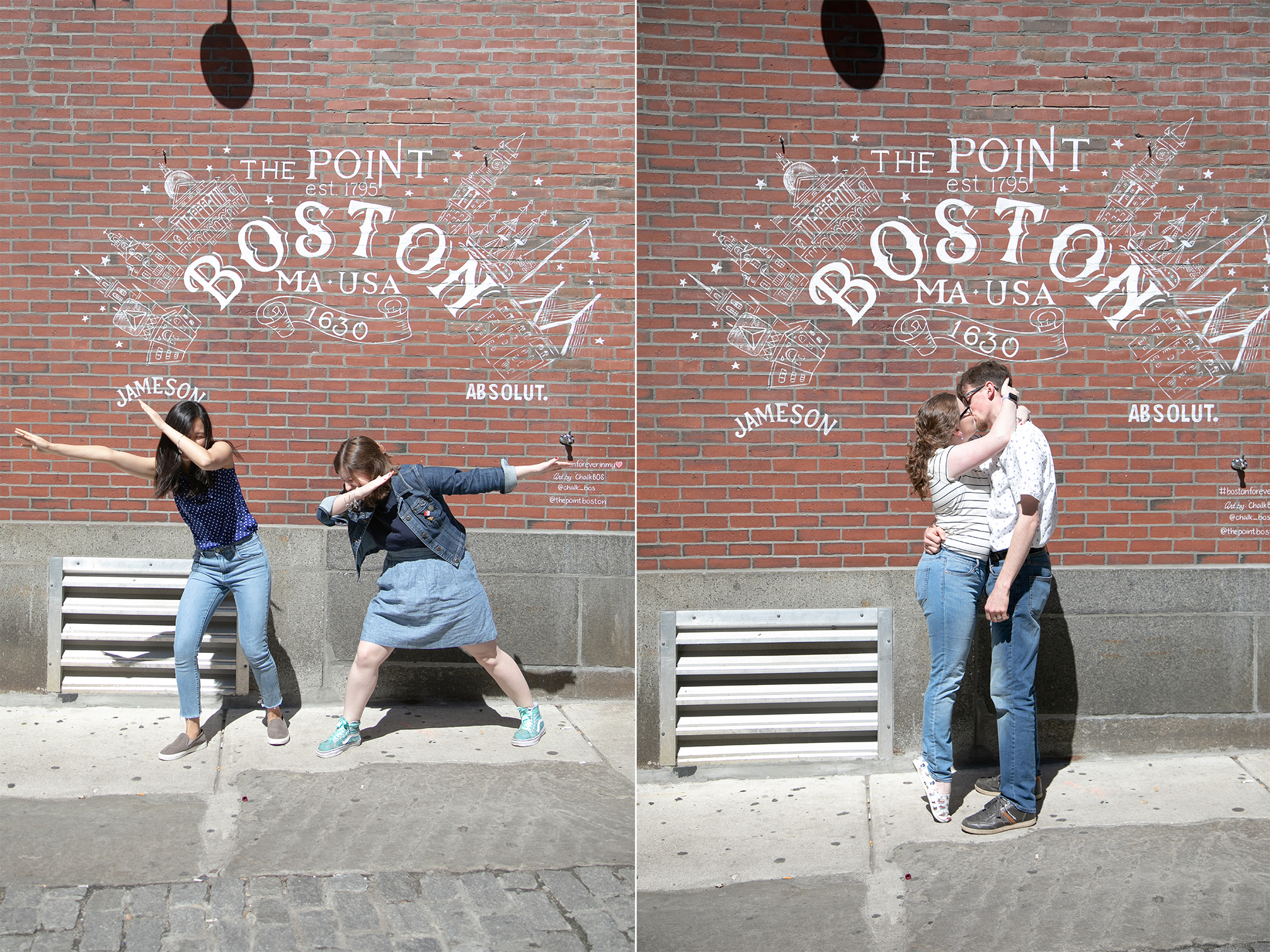 couple posing by Boston sign