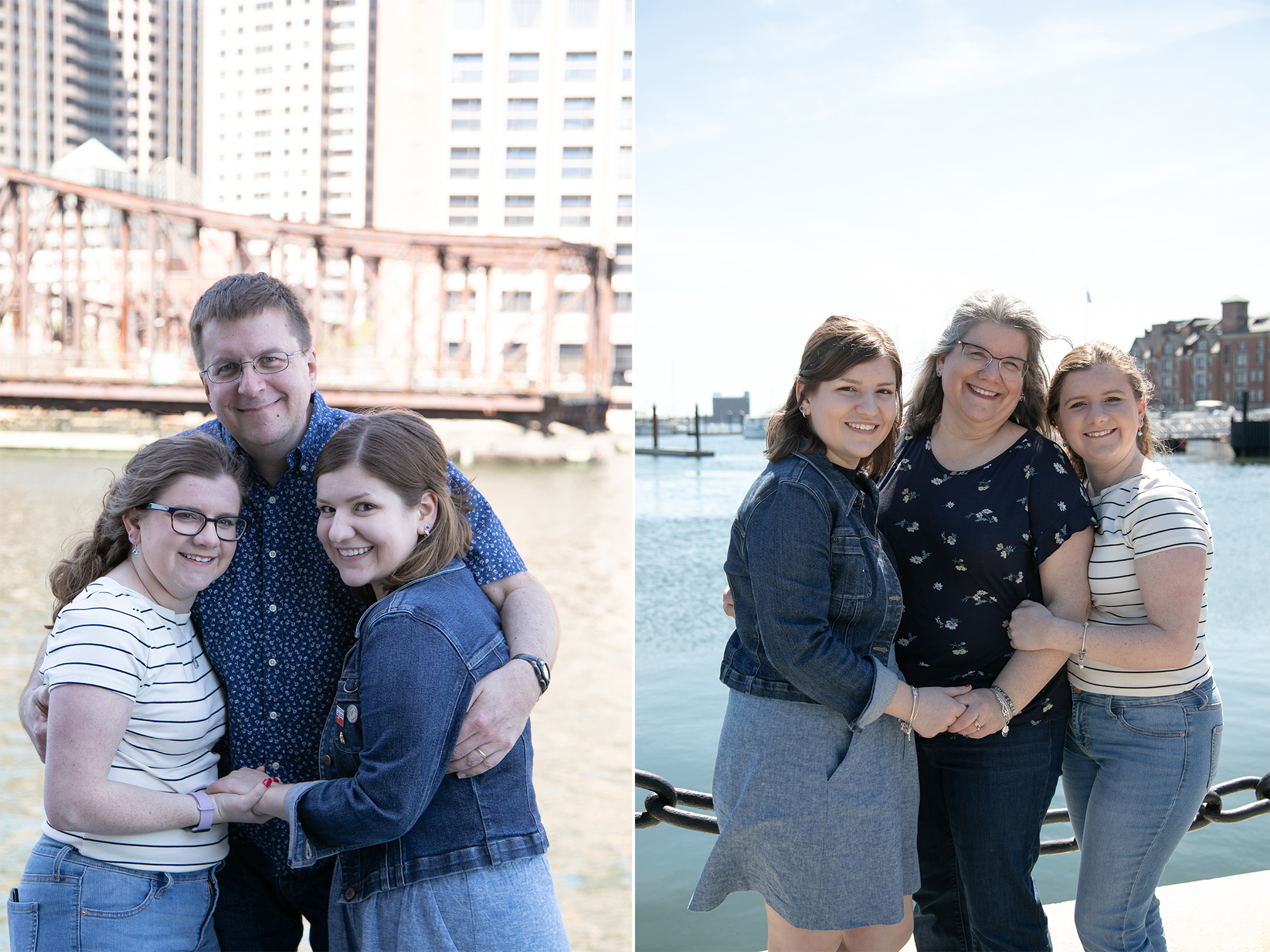 Family standing for photo at Boston harbor