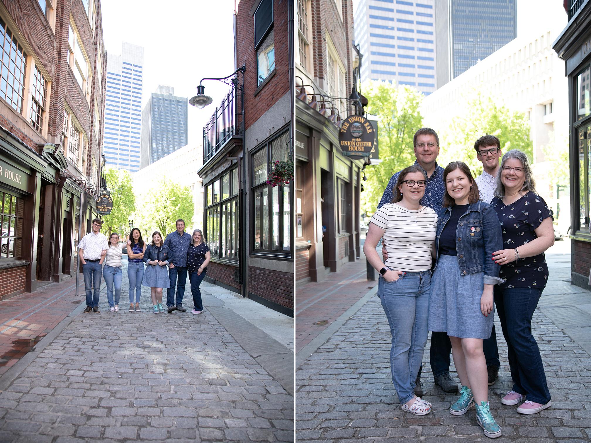 family posing in Boston alley