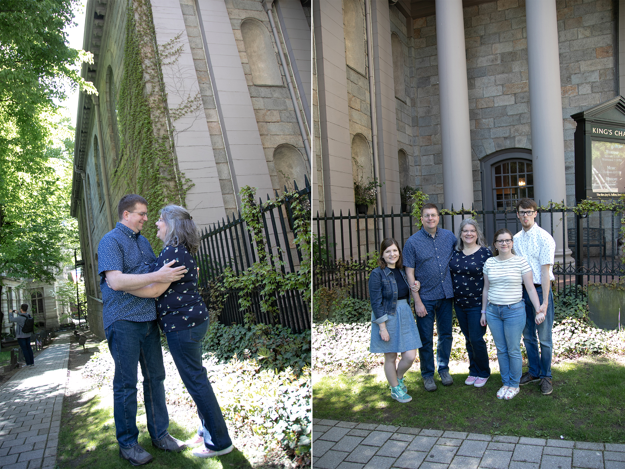 Family Photos at King's chapel in Boston MA