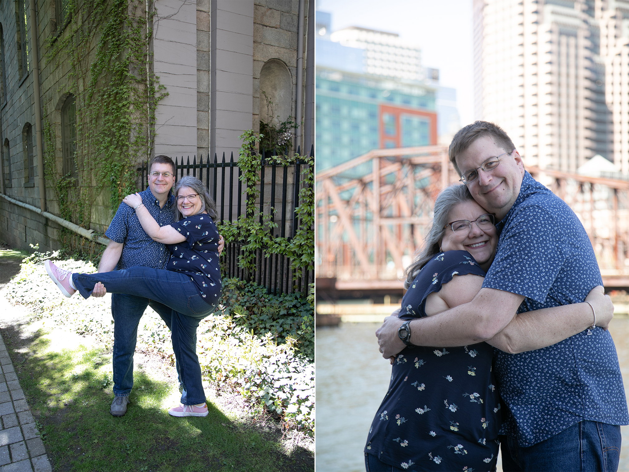 couple hugging for photo at Boston harbor