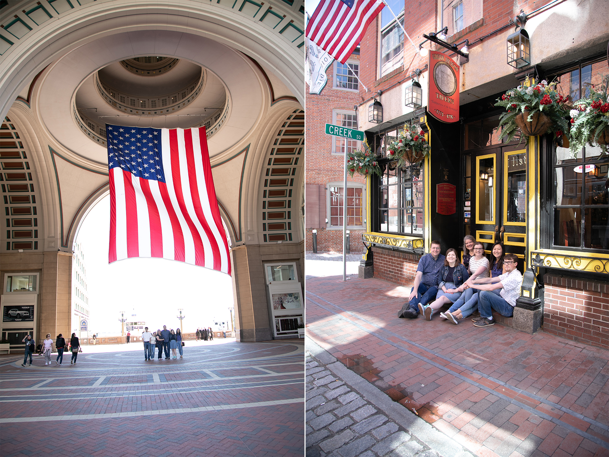 Family standing for photo in Boston
