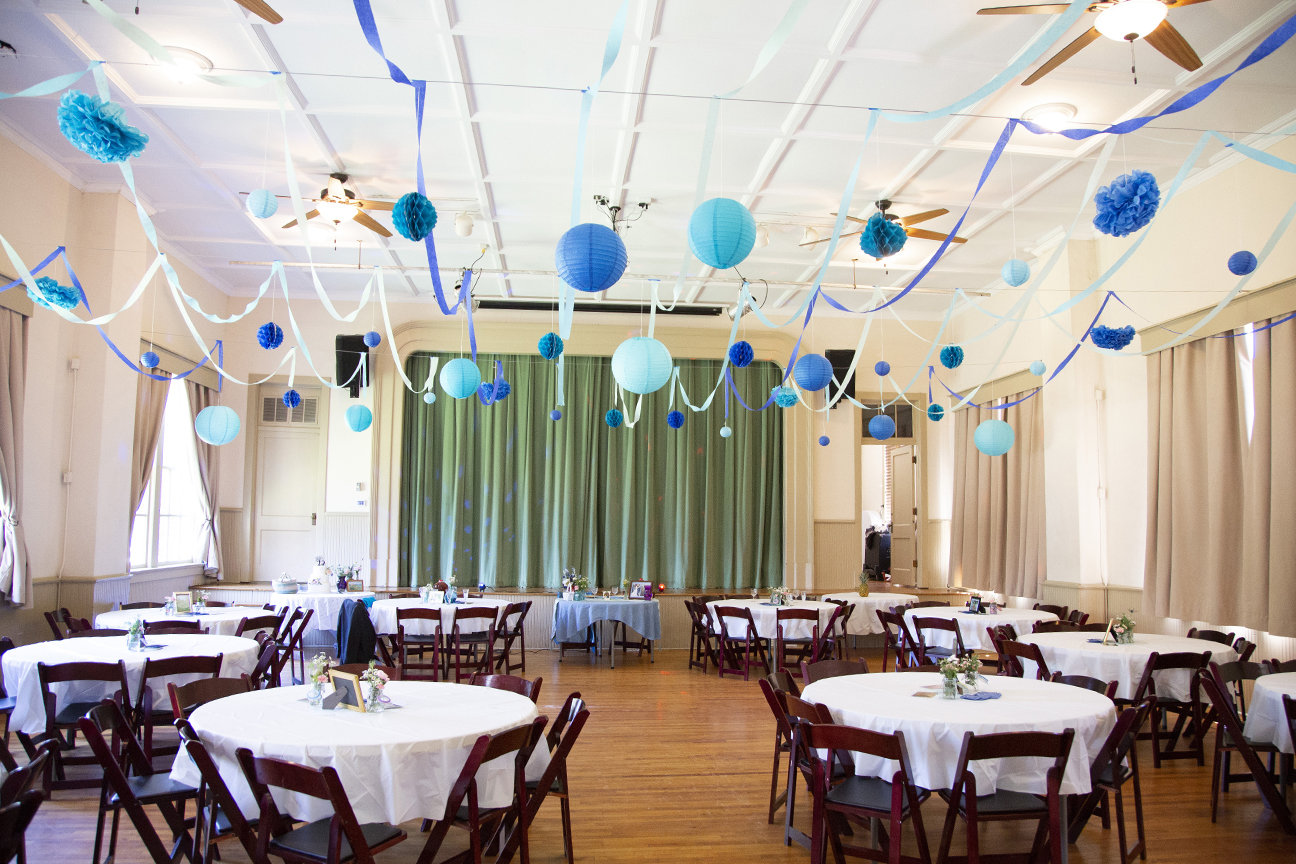 homespun whimsical reception set up at old stone school