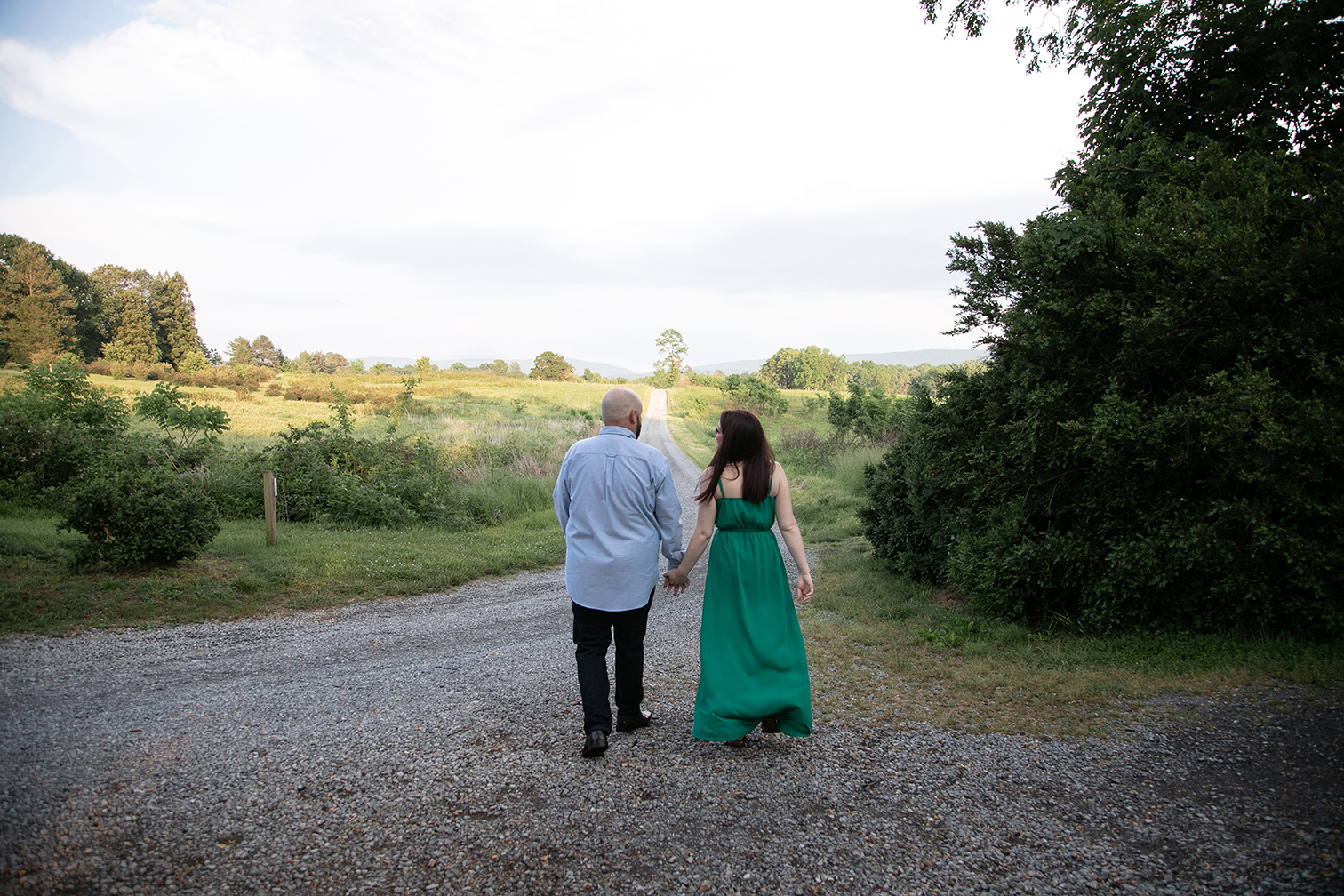 couple walking down road