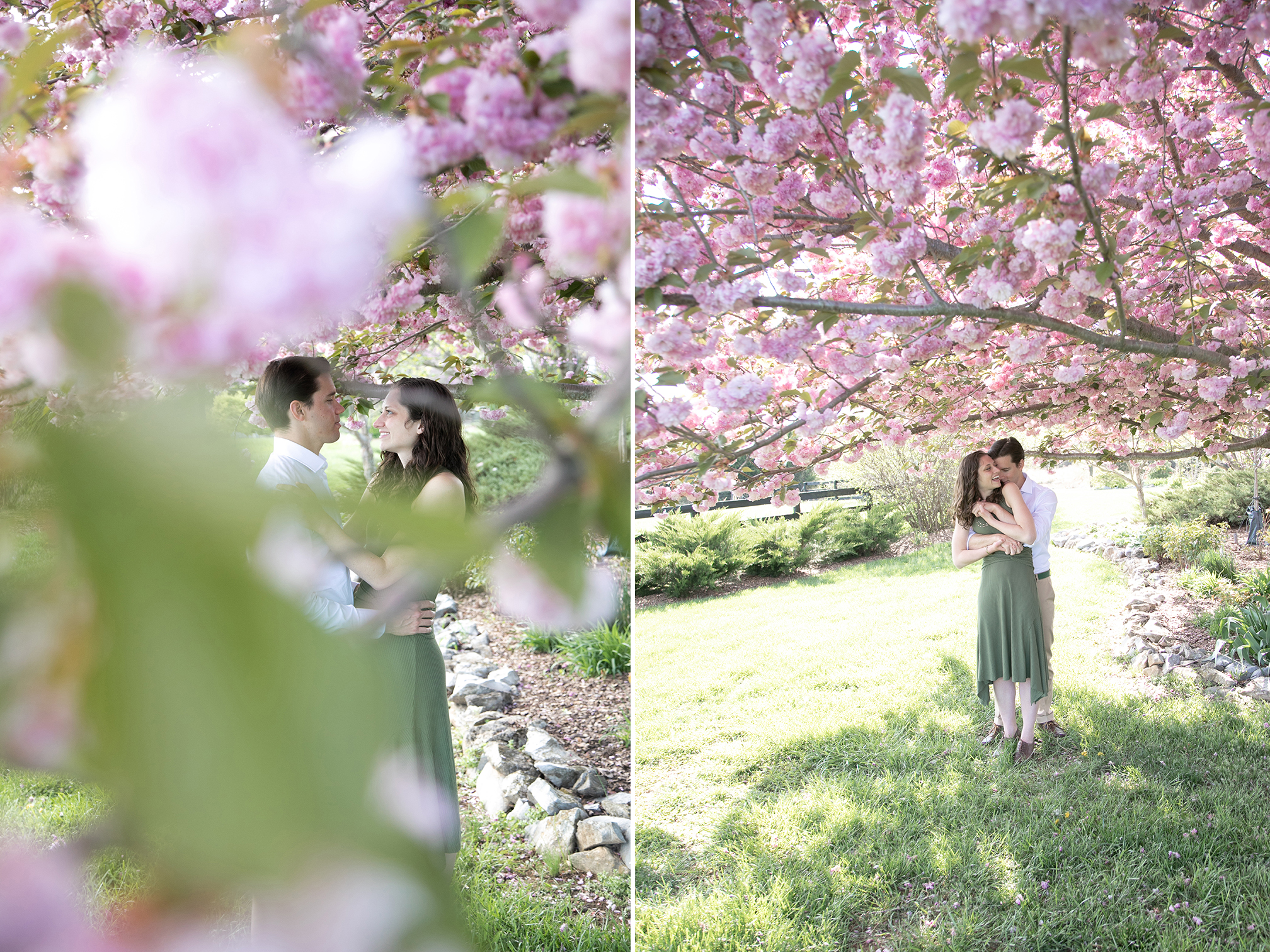 couple embracing under flowering trees