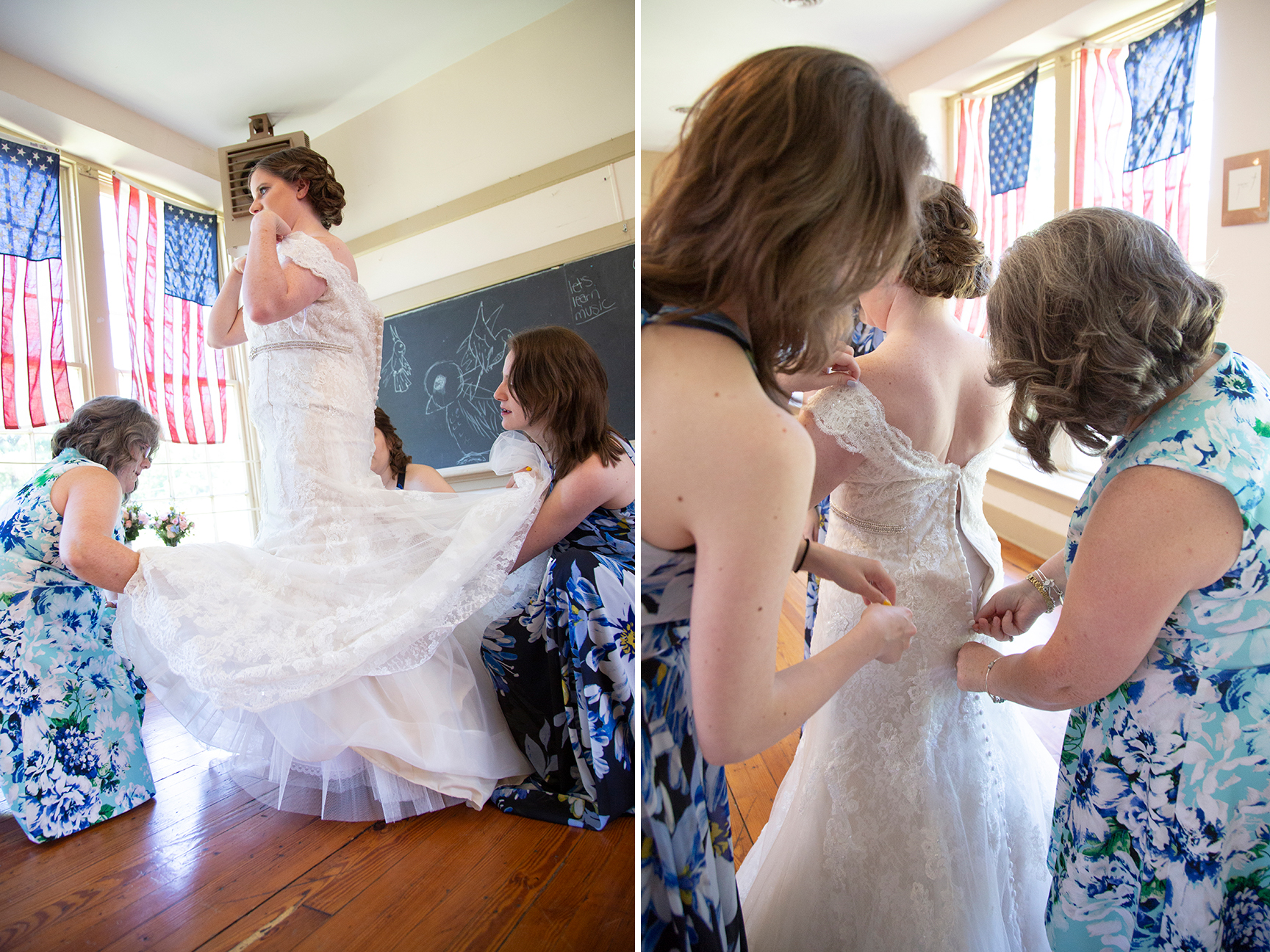 bride getting ready at old stone school