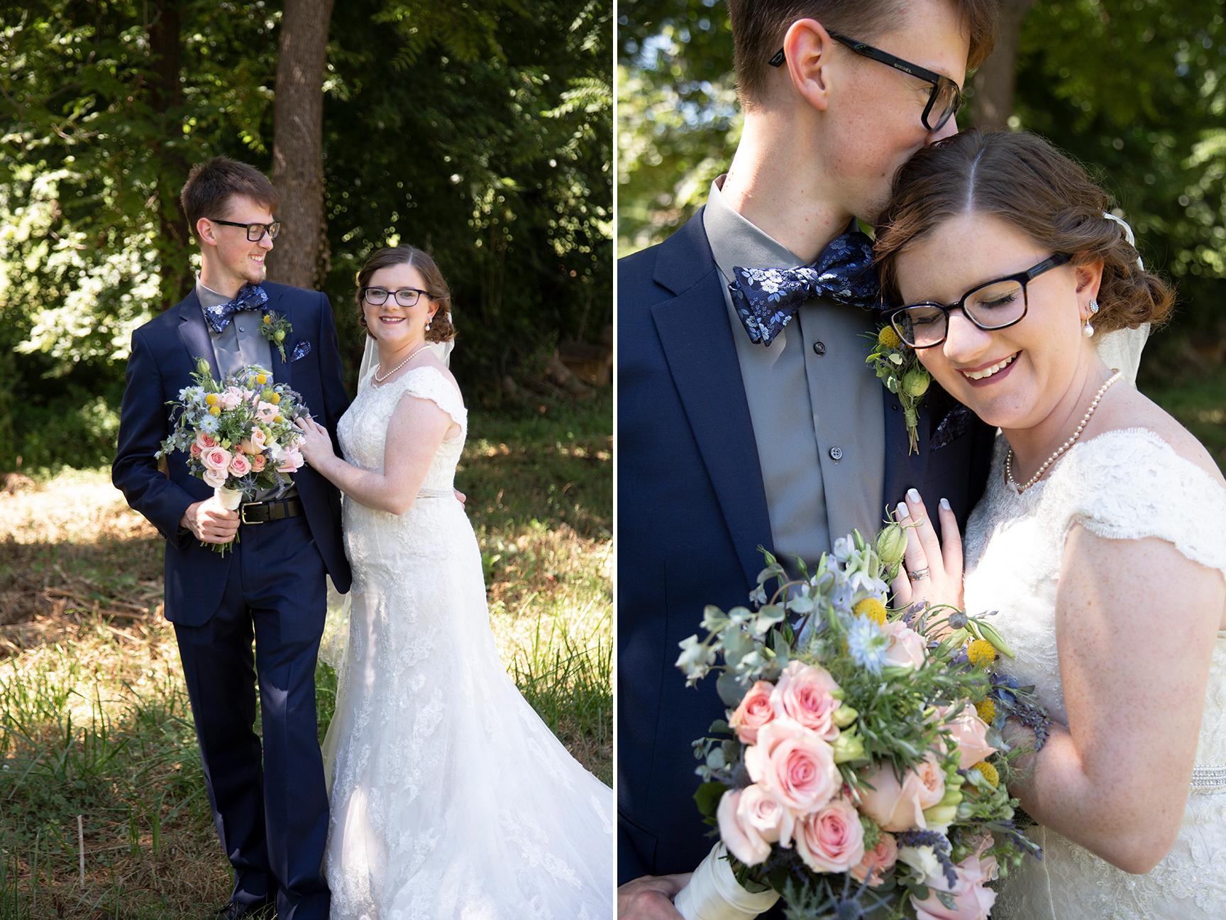 couple embracing on wedding day