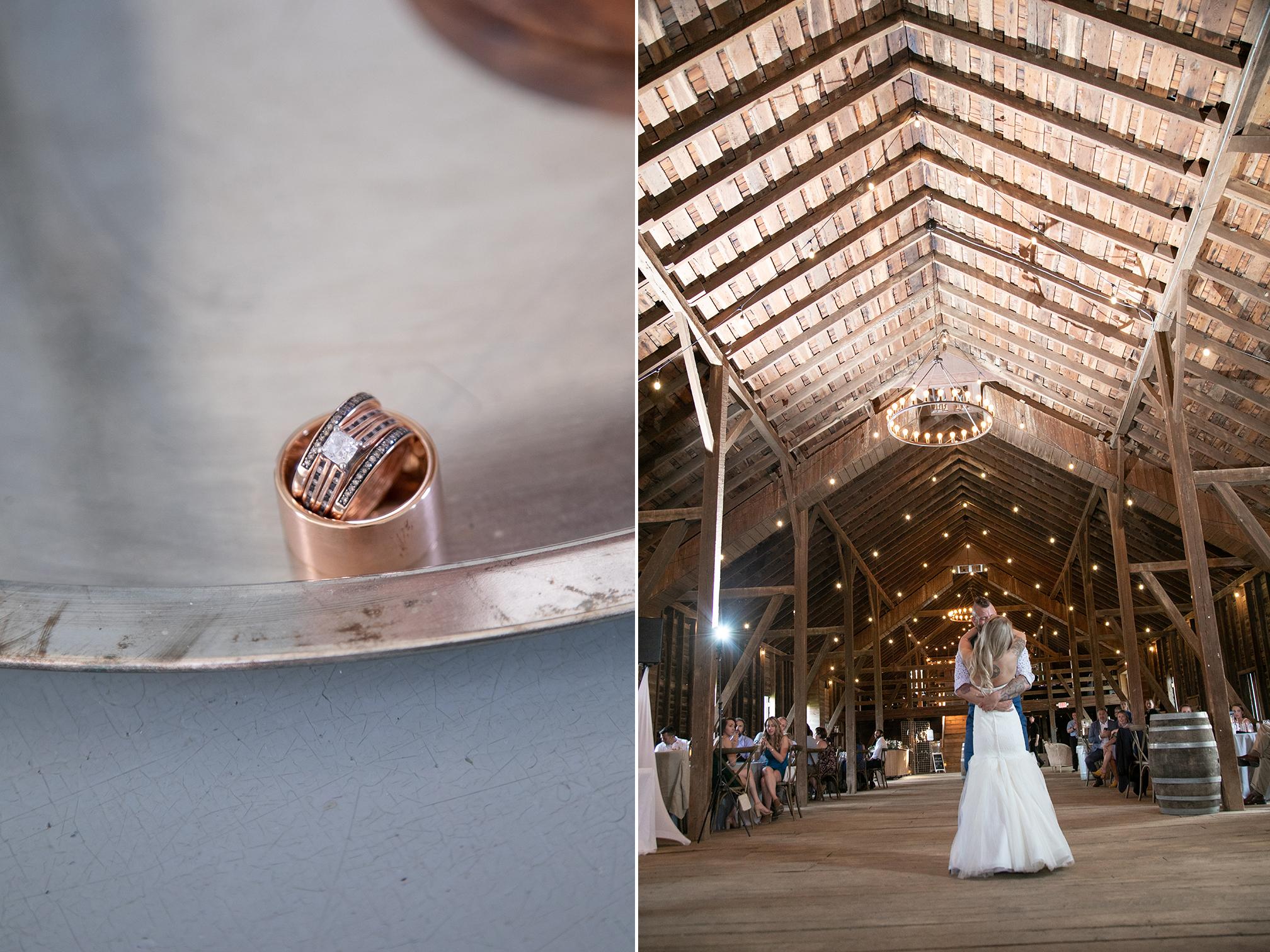 couple dancing in barn