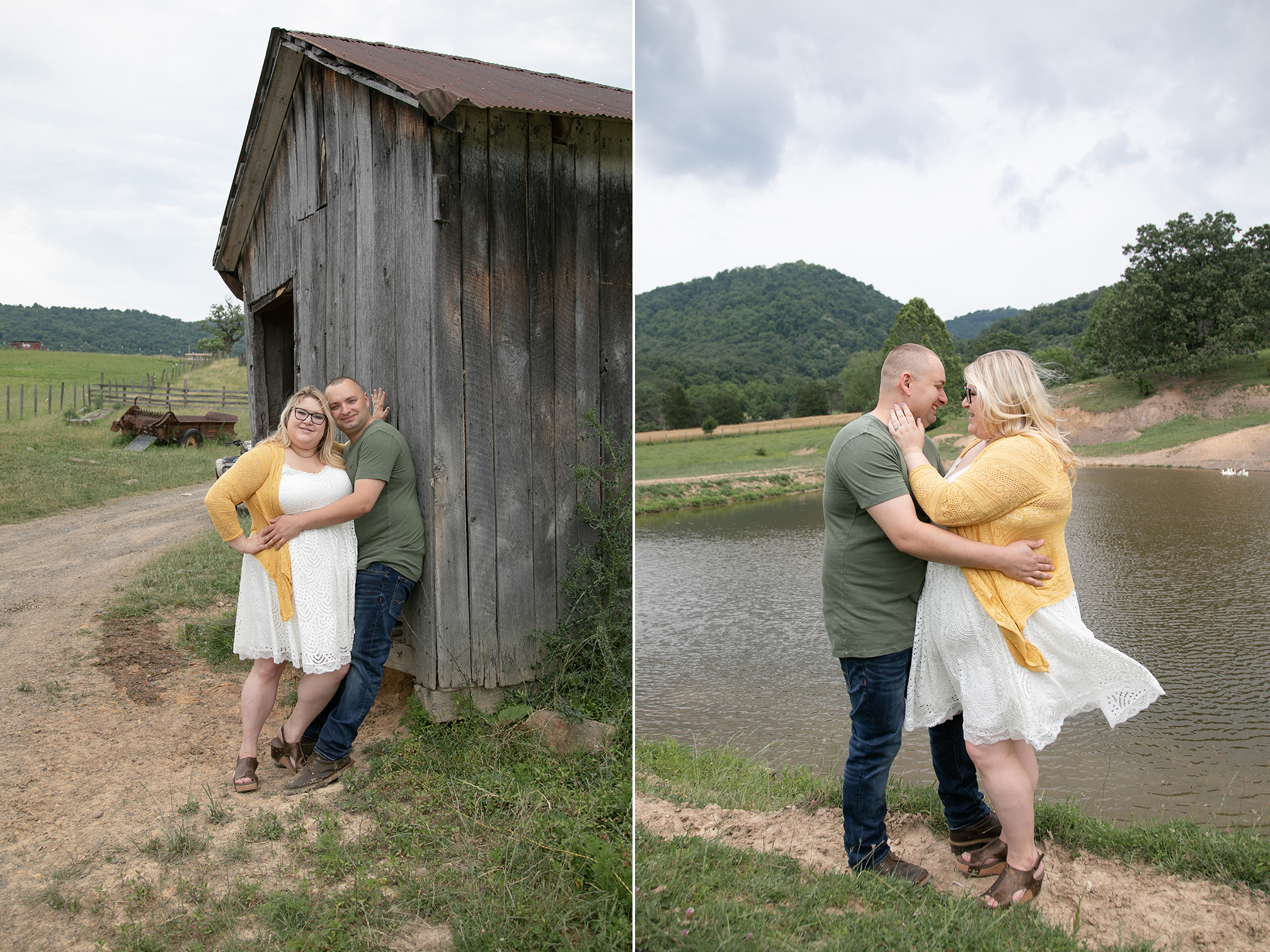 couple embracing on family farm