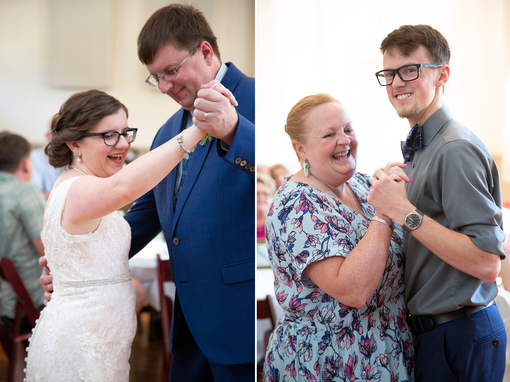 couple dances with parents at old stone school