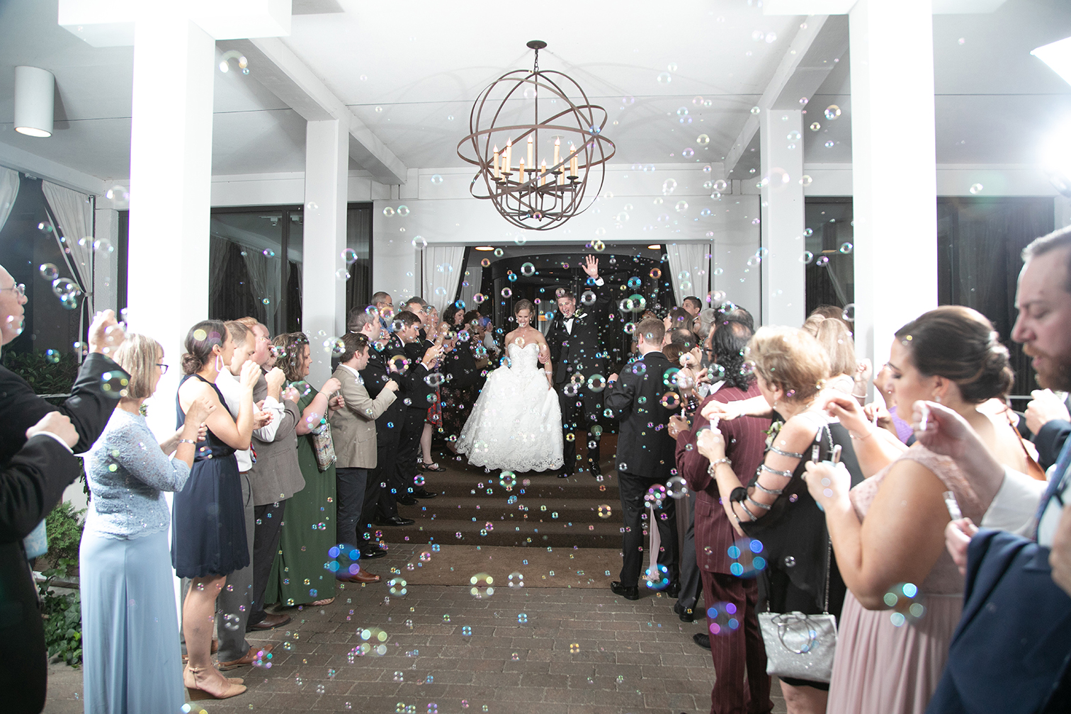 reception exit with bubbles