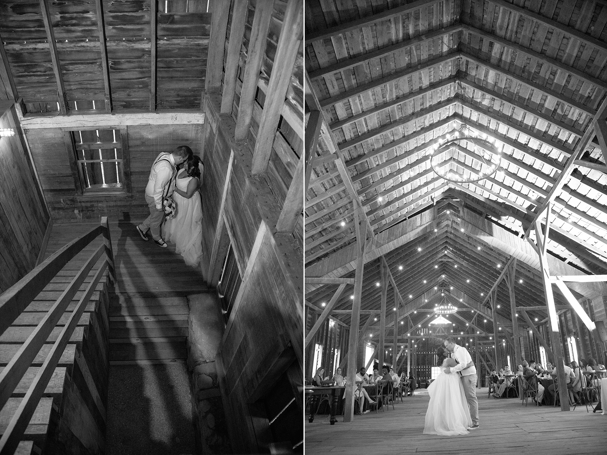 couple kissing in barn