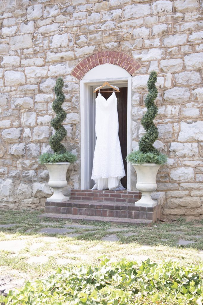 Wedding dress hanging at Historic Jordan Springs