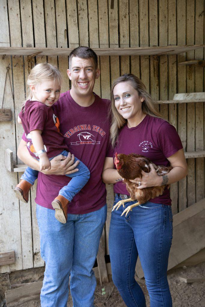 family photos at Ballenger farm use with a chicken