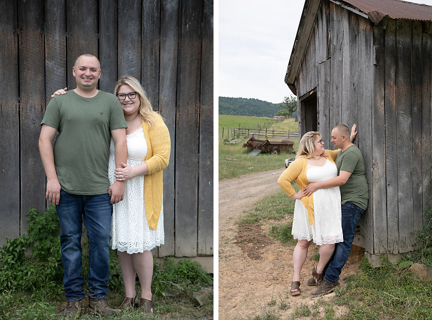 engaged couple at Moorefield WV Family Farm