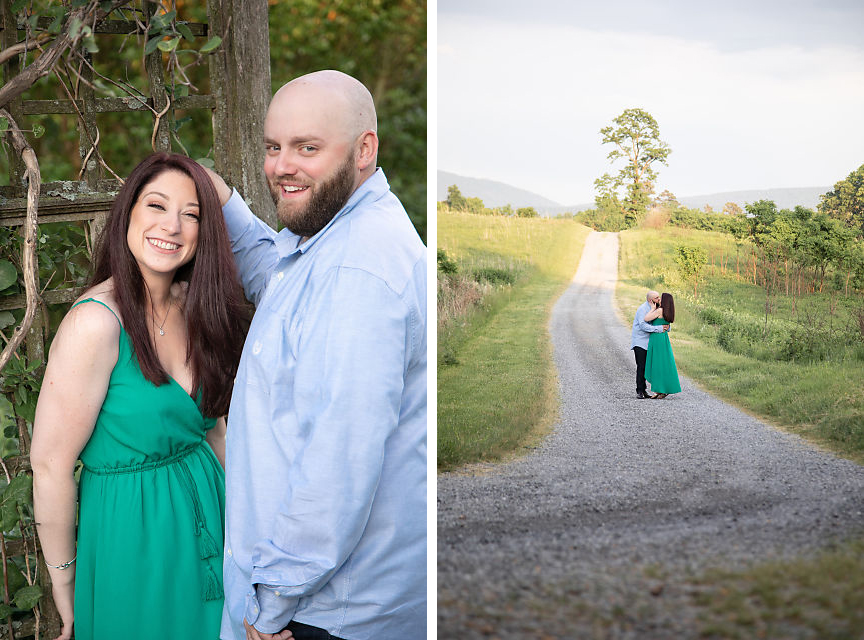 Engaged couple at brandy farm in Boyce VA