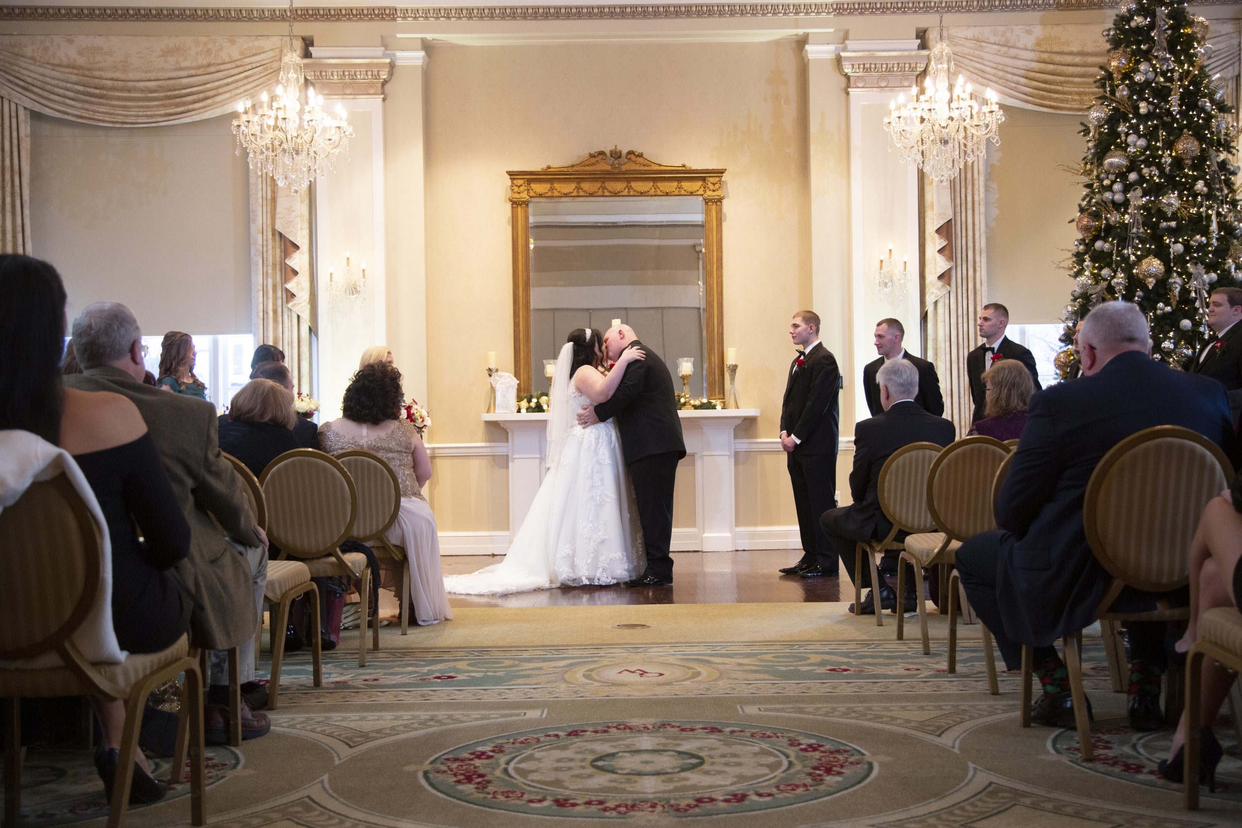 ceremony at George Washington Hotel christmas wedding.