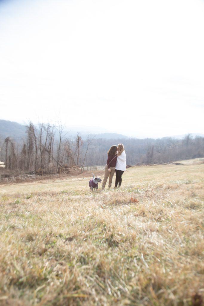 Shenandoah Valley engagement session, couple embrace