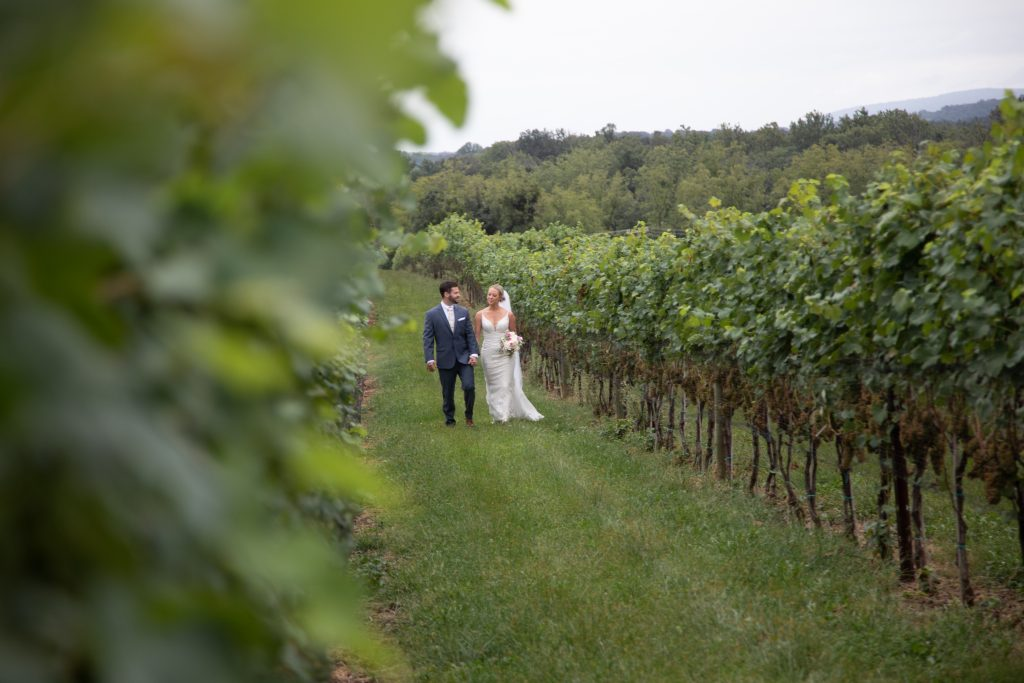 Kalero Vineyard wedding, bride & groom in the vines.