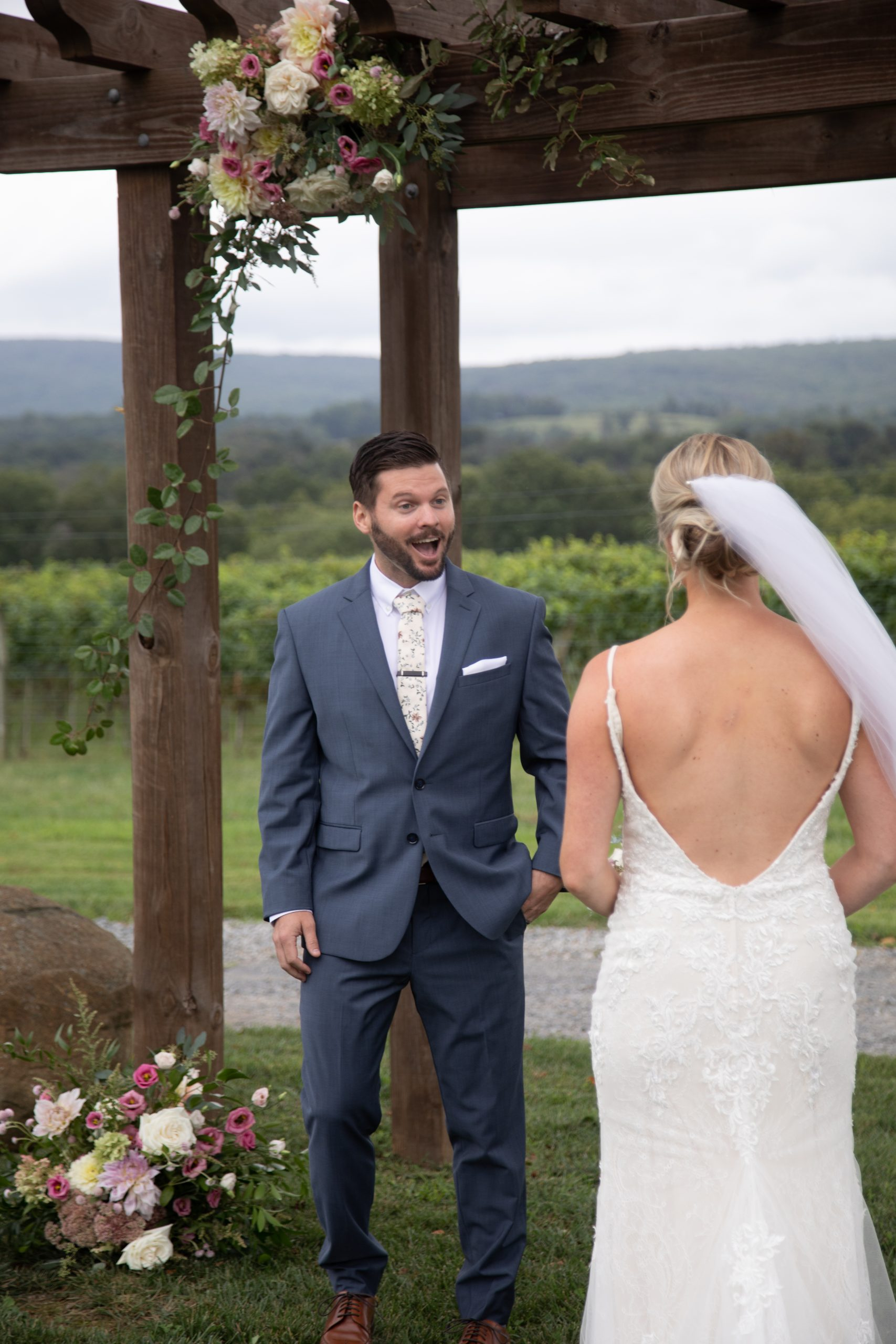 Kalero Vineyard wedding first look photographs, Stephanie Leigh Photography & Design