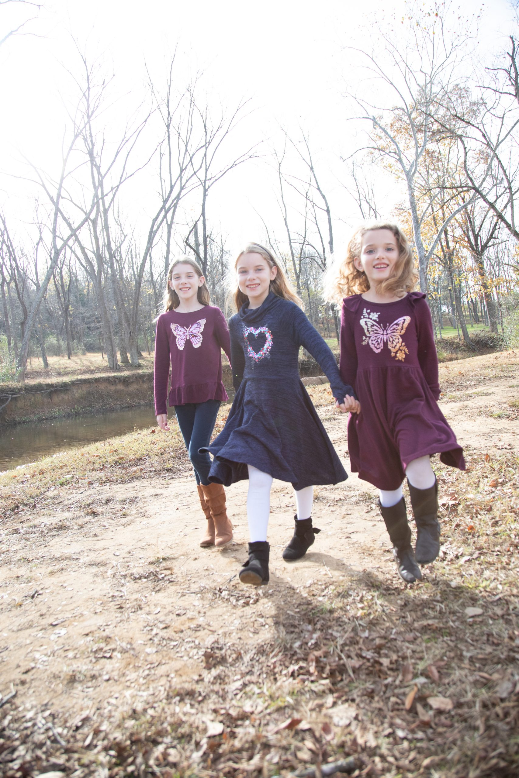 sisters holding hands. Loudoun County photographer