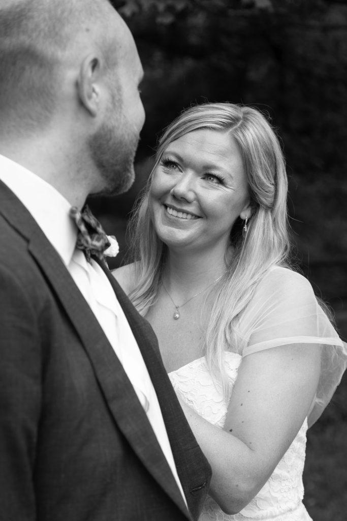 bride & groom at ballenger farm micro wedding